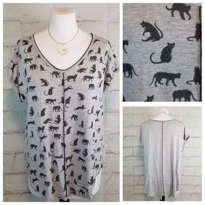 Edista L Gray with Black Cat Print Cap Sleeve Top